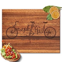 Froolu Monogram Bicycle Big Wooden Cutting Board For Couples Names Engraved Housewarming Gifts