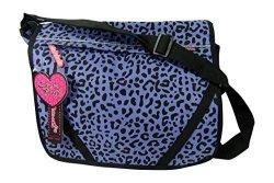 Cutie Patootie Leopard Print Messenger Book Bag Lilac Purple