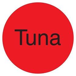 """Daymark IT111996 Duramark Permanent Circle Deli Label """"tuna"""" 1"""" Diameter Fluorescent Red Roll Of 1000"""