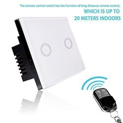 Smart Light Switch - Rf Touch Remote Control - 2 Gang No Neutral Required