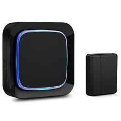 Door Sensor Chime Alarm System Wireless For Home Security Coolqiya Entry Bell Alert 600FT Operating Range 1 Door Sensor + 1 Plug-in Receiver Black