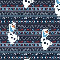 Disney Fabric Frozen Olaf's Alpine Wonder In Navy Blue Premium Quality Fabric By The Yard