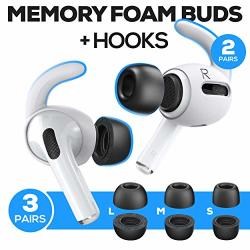 Proof Labs Memory Foam Tips And Ear Hooks Accessories For Airpods Pro 3 Pairs S M L Buds 2 Pairs White Hooks