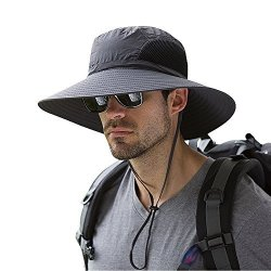 Shenzhen EINSKEY Electronic Limited Men s Waterproof Sun Hat Summer Uv  Protection Bucket Mesh Boonie Cap With Adjustable Drawstr 5c401125c98