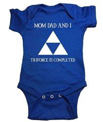 "Zelda One Piece ""family Triforce"" Bodysuit 6 Month Blue"