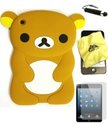 Bukit Cell Tm Brown Bear 3D Cartoon Soft Silicone Skin Case Cover For Apple Ipad MINI 16GB 32GB 64GB Wifi And 4G LTE