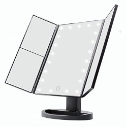 TFCFL 21 LED Makeup Mirror Desktop Mirror With Stand Touch Screen 1X 2X 3 Magnification USB Chargeable