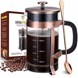 Nicpay French Press Coffee Tea Maker 34 Ounce With 4 Level Filtration System - 304 Grade Stainless Steel - Thickened Heat Resistant Borosilicate Glass Copper
