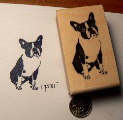 Dragonflylaser P44 Small Boston Terrier Dog Rubber Stamp