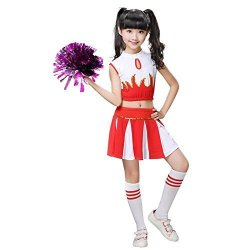 b4a7136ad65 Girls Cheerleader Costume School Child Cheer Costume Outfit Carnival Party  Halloween Cosplay With Match Pom Poms 140 9-10 Years | R1290.00 | Fancy ...