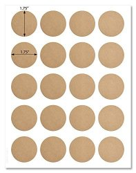 Textured Brown Kraft 1.75 Inch Diameter Circle Labels With Template And Printing Instructions 5 Sheets 100 Labels BK17