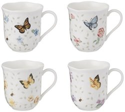 Lenox 829054 Butterfly Meadow Petite 4-PIECE Assorted Mug Set 2.0 Lb Multi