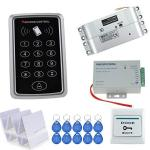 Hfeng Rfid Access Control System Kit Set 125KHZ Reader Keypad Board With Power Supply Controller +electric Drop Bolt Lock+ Door