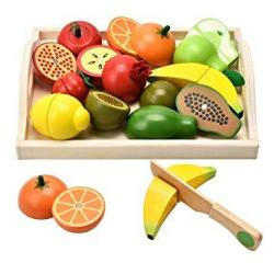 Carlorbo Wooden Toys For 2 Year Old - Pretend Play Food Set For Kids Play Kitchen 9 Cuttable Toy Fruit And Veg With Wooden