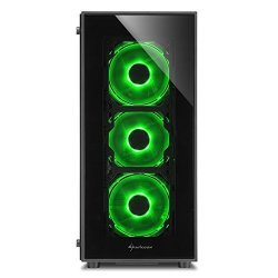 Sharkoon TG5 Window Atx Tower PC Gaming Case Green With Side Window - USB 3.0 Mounting Possibilities: 1X 3.5 Hard Drive Bays 2X