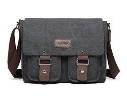 cc843b9bdb BEFAiR Canvas Messenger Bag Vintage Shoulder Bag Laptop Bag School Bag  Bookbag Travel Bag For Men And Women Black