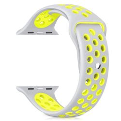 38MM Hole Band For Apple Watch - Silver & Yellow Size: S m
