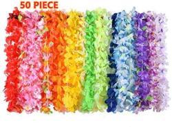 Xadp 50 Counts Hawaiian Leis Necklace Tropical Luau Hawaii Silk Flower Lei Bulk Party Favorskids Or Adults Luau Party Decoration