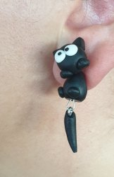 Handmade Clay Earrings - Black Cat With White Eyes