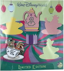 Disney Pin - Wdw - Annual Passholder Quarterly - Alice In Wonderland Teacups - Mad Hatter And March Hare