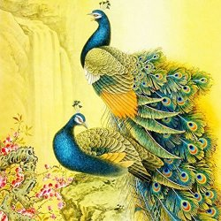 Lprtalk Diamond Painting By Number Kit 5D Diy Diamond Painting Animal Full Round Drill Beautiful Peacocks Embroidery For Wall Decoration 12X12 Inches Full Drill