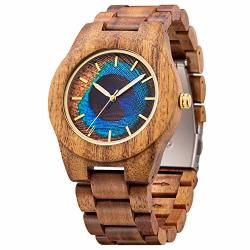 Men's Wood Watch Unique Peacock Feather Design Amazing Thanksgiving Christmas