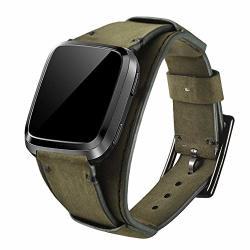 Leotop Compatible With Fitbit Versa versa 2 VERSA Lite versa Special Edition Bands Genuine Leather Cuff Bracelet Replacement Strap Compatible Fitbit Versa Smart Watch For Men Women