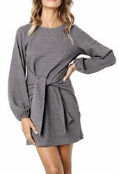 R.vivimos Women's Autumn Winter Cotton Long Sleeves Elegant Knitted Bodycon Tie Waist Sweater Pencil Dress Large Dark Gray