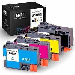Lemero Compatible Ink Cartridges Replacement For Brother LC3033 LC3033XXL High Yield - For Brother MFC-J995DW MFC-J995DWXL Printer Black Cyan Magenta Yellow 4-PACK