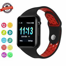 Sunetlink Bluetooth Smart Watch With Touch Screen Android Watch Phone Fitness Tracker With Sim sd Card Slot Water Resistance Smart Watches For Women Men Red