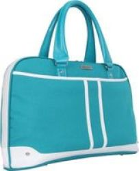 BLACK Casual Ladies Tote Bag For 15.6 Notebooks Teal And White