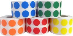 InStockLabels.com Color Coding Labels Teacher Office Supplies Round Circle Dots Five Color Bulk Pack 1 2 Inch 1 000 Per Color 5 000 Total Adhesive Stickers
