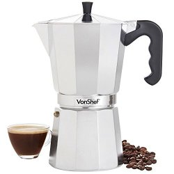 Vonshef Stovetop Aluminium Espresso Maker Moka Pot Chrome 12 Espresso Cup Capacity