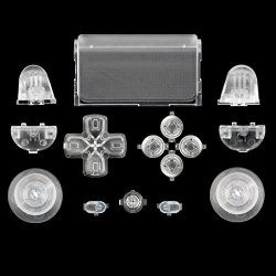 WPS Touch Pad Thumbsticks Dpad Home Full Buttons Set Replacement Parts For PS4 Playstation 4 Dualshock 4 Controller Shell For Gen 1 Controllers Transparent Clear