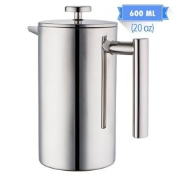MIRA Brands Mira 20 Oz All Stainless Steel French Press For Coffee Or Tea Double Wall Insulated Coffee Pot & Maker Keeps Brewed Coffee Or