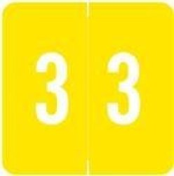 Acme Numeric Labels - Acnm Series Rolls - 3 - Yellow