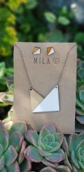 Mila White & Brown 3 4 Square Necklace & Earrings - Nationwide Shipping Included