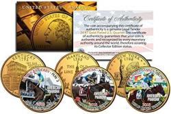 "USA American Pharoah 2015 Triple Crown Winner 24KT Gold Statehood 3"" Quarter Set W h Display Stands"