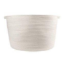 """Orino Cotton Rope Storage Baskets With Handles 15""""X10"""" Large Off White"""