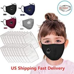 4PC Ussuma Children Face M Sc Bandanas Breathing Valve With 20 Pcs Filters For Kids Protective Anti-dust Facial Scarf Reusable washable