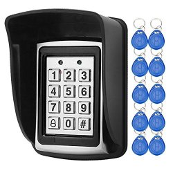 Libo Waterproof Access Control Keypad Proximity Rfid Controller Suitable For Single Door Entry System Support 1000 Users Including 10PCS 125KHZ Rfid Keyfobs With Rainproof Cover