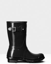 Hunter - WOMEN's Original Short Gloss Rain Boots - Black