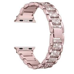 Secbolt Bling Bands Compatible Apple Watch Band 42MM 44MM Iwatch Series 4 3 2 1 Metal Rhinestone Bling Replacement Wristband Ros