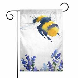 Gdjiuzhang Christmas Home Garden Flags Double Sided Outdoor Decorative Yard Flags Painting Yellow Bumble Watercolor Bumblebee Flying Over Blue Flowers Wildlife Bee Honey Artistic