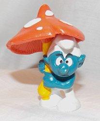 """1979 Vintage Smurf With Mushroom Umbrella 2.5"""" Pvc Figure"""