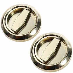 Hwmate Stainless Steel Cabinet Door Knobs Fire Proof Disk Ring Lock With Recessed Pull Handle Gold 1 Pair