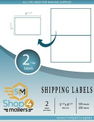 SHOP4MAILERS 2-UP White Shipping Labels 5 1 2 X 8 1 2 100 Sheets 200 Labels