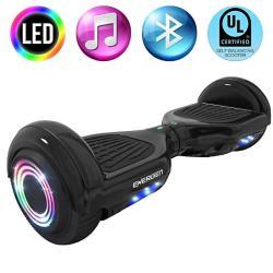 """Energen EN-HBB651BBK Hoverboard 6.5"""" Black Two-wheel Self Balancing Scooter For Kids With Bluetooth Speaker & LED LIGHT-UL2272 C"""