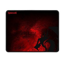 Redragon Large Gaming Mouse Pad P016 By Thick Black Red Cloth With Dragon Design Stitched Edges Waterproof Pixel-perfect Accuracy Optimized For All Computer Mouse