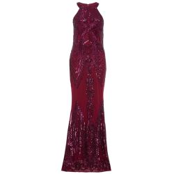 234e7d65 Deals on Quiz Berry Sequin High Neck Fishtail Maxi Dress - Berry ...